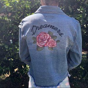 Love Tree Denim jeans jacket w/ rose detailing